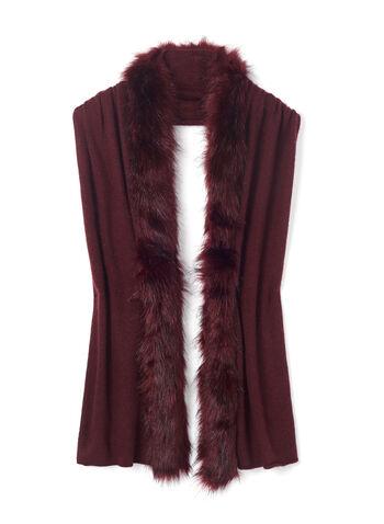 Pashmina Wrap Scarf with Faux Fur Trim, Red, hi-res