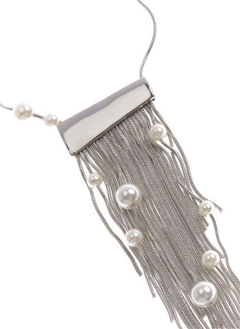 Tassel & Pearl Pendant Necklace , , hi-res