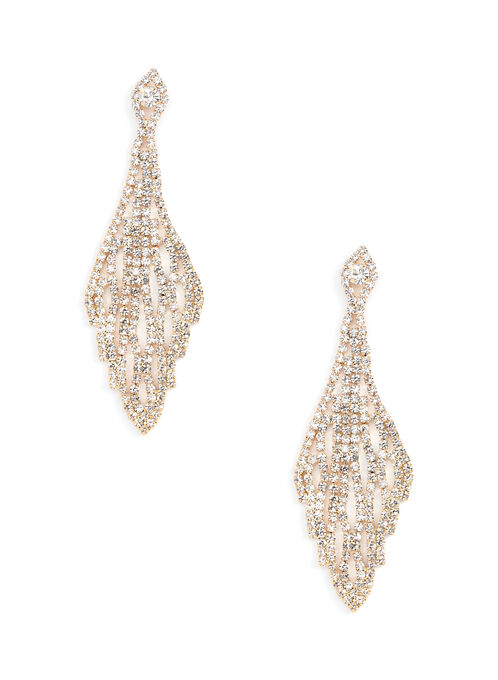 Crystal Web Chandelier Earrings, Silver, hi-res