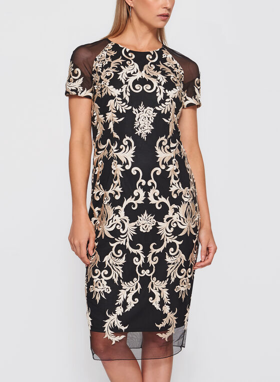 Jax - Embroidered Mesh Dress, Gold, hi-res