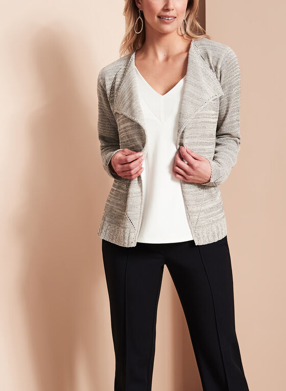 Glitter Pointelle Knit Cardigan, Grey, hi-res