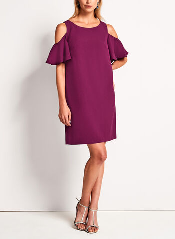 Cold Shoulder Flutter Sleeve Dress , , hi-res
