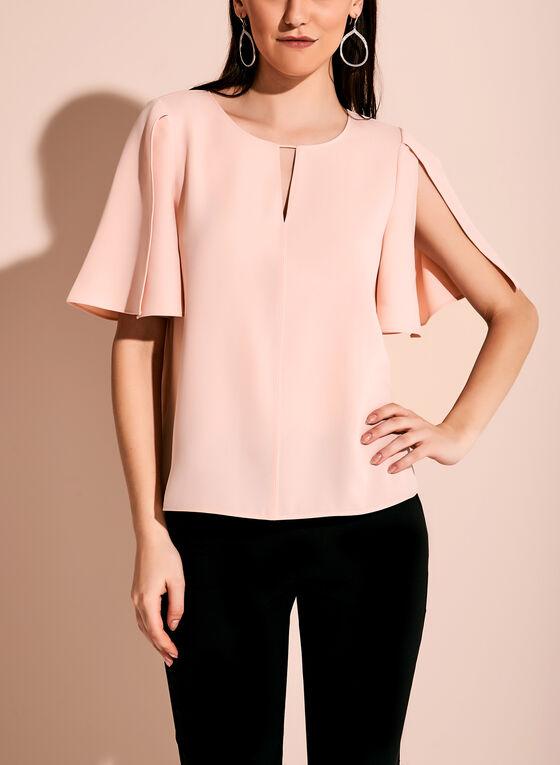 Split Sleeve Keyhole Top, Pink, hi-res