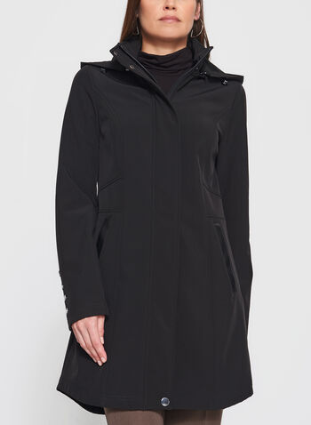 Hooded Softshell Coat, , hi-res