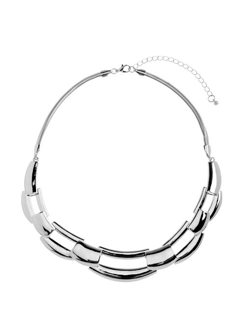 Scalloped Metal Necklace, Silver, hi-res