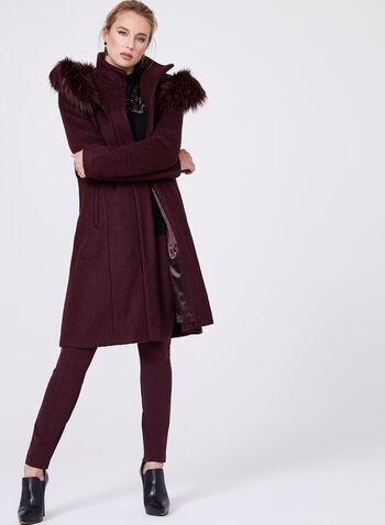 Faux Fur Trimmed Wool Blend Coat, , hi-res