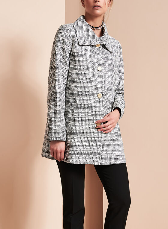Tweed Stand Collar Coat, Black, hi-res