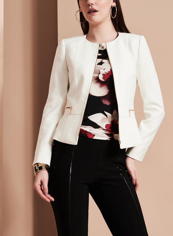 T Tahari - Zipper Trim Jacket, Grey, hi-res