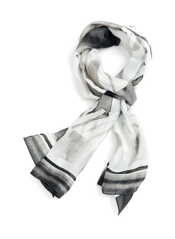Oblong Abstract Print Scarf, Black, hi-res