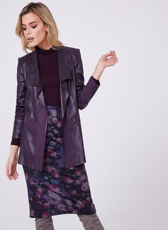 Vex - Open Front Faux Leather Jacket, Purple, hi-res