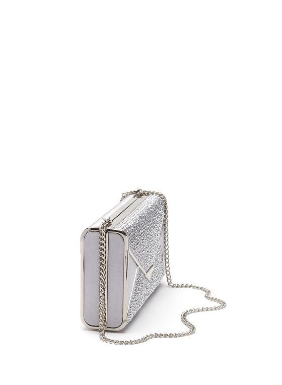 Crystal Envelope Box Clutch, Silver, hi-res