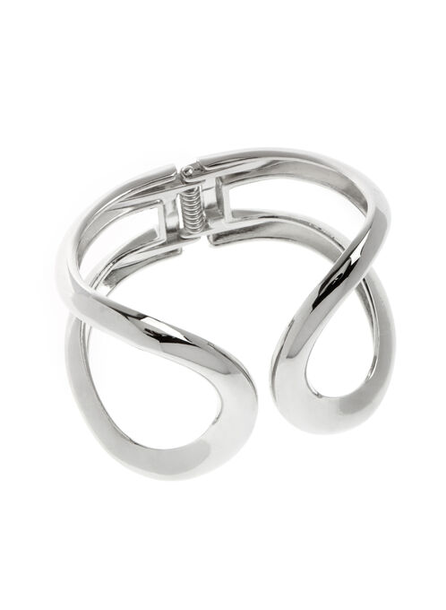 Wide Cutout Bangle , Silver, hi-res
