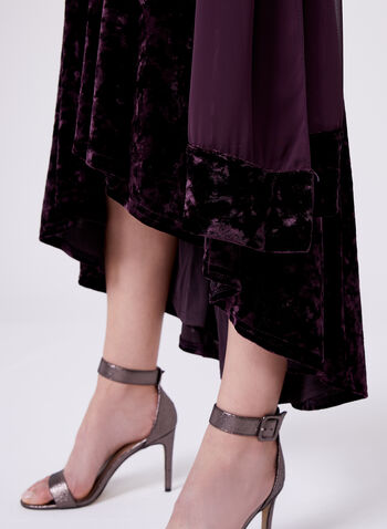 High Low Hem Velvet Dress, , hi-res