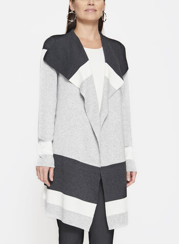 Colour Block Knit Cardigan, , hi-res