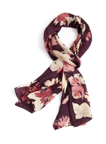 Floral Print Silk Oblong Scarf , , hi-res