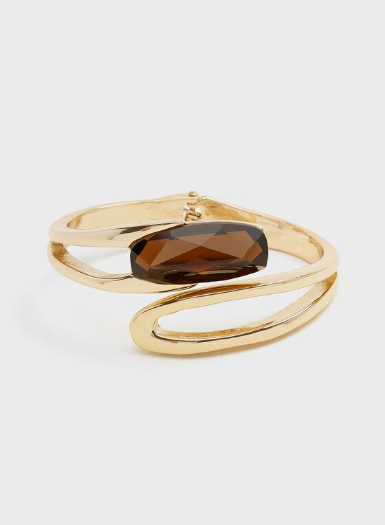 Robert Lee Morris - Stone Detail Hinge Bracelet, Brown, hi-res