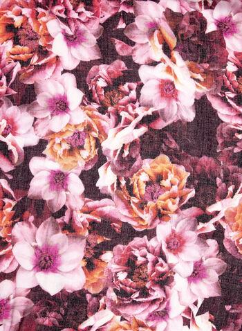 Floral Print Tassel Scarf, , hi-res