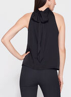 Sleeveless Satin Tie Back Blouse, Black, hi-res