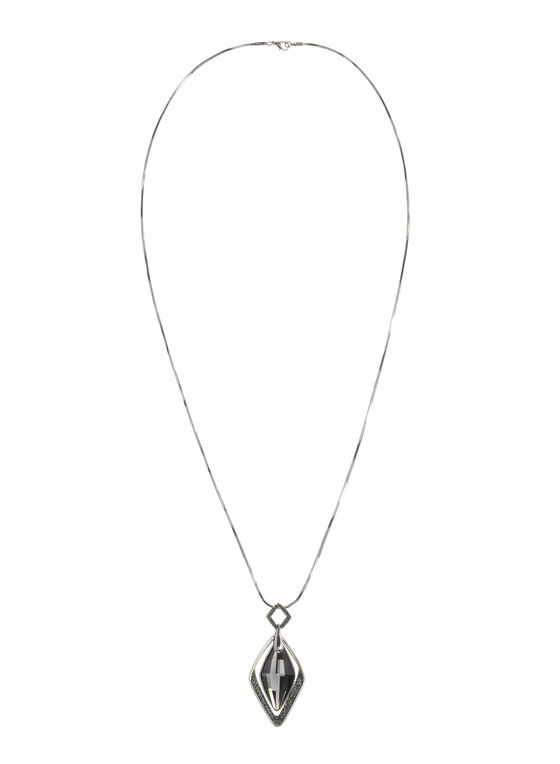 Stone Pendant Snake Chain Necklace, Grey, hi-res