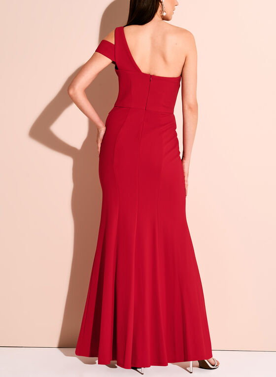 One Shoulder Peplum Crepe Gown, Red, hi-res