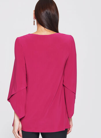 3/4 Asymmetric Bell Sleeve Jersey Top, , hi-res