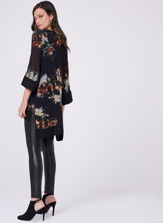 Floral Print 3/4 Sleeve High-Low Blouse, Black, hi-res