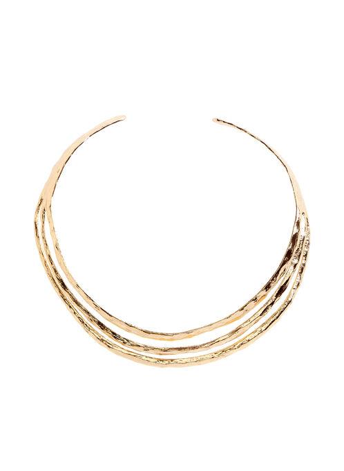 Three Row Cuff Necklace , Gold, hi-res