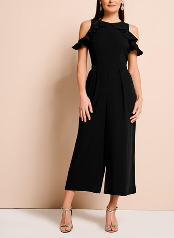 Ruffle Trim Cold Shoulder Jumpsuit, , hi-res