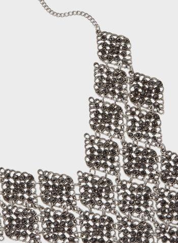 Collier plastron métallique souple avec brillants, , hi-res