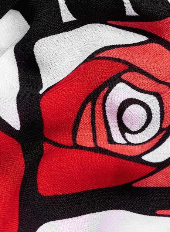 Geometric Rose Print Scarf, Red, hi-res