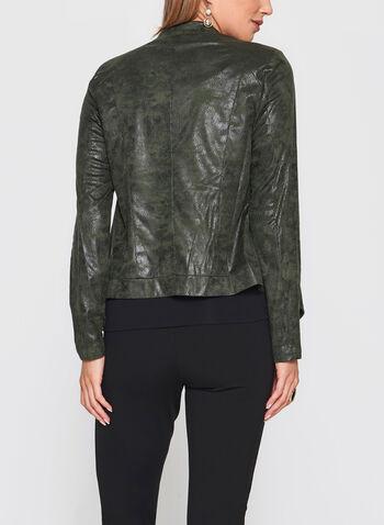 Zipper Trim Faux Leather Jacket, , hi-res
