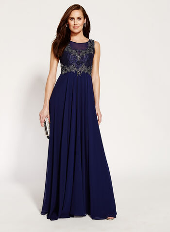 Beaded Lace Chiffon Gown, , hi-res