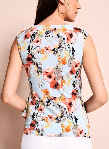 Floral Print Side Drape Top, , hi-res