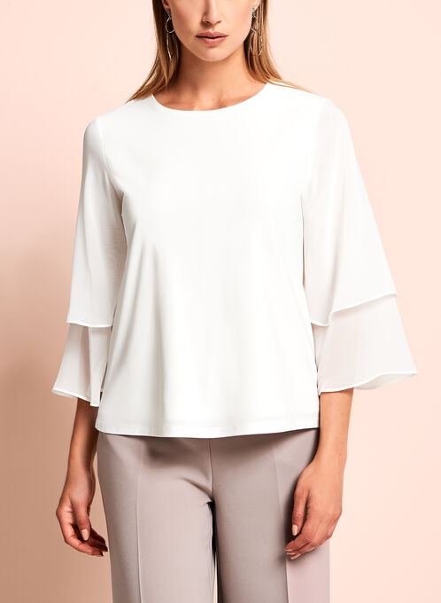3/4 Chiffon Sleeve Top, Off White, hi-res