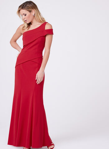 Cachet - One Shoulder Peplum Crepe Dress, , hi-res