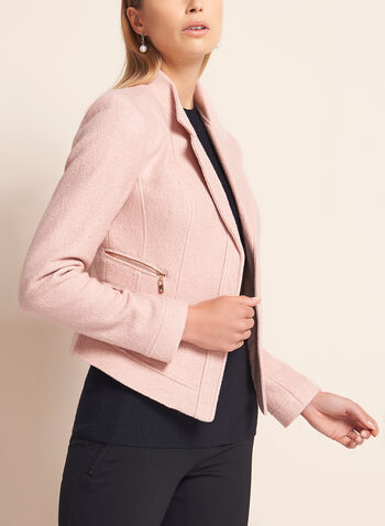 Cropped Zipper Trim Wool Blazer, , hi-res