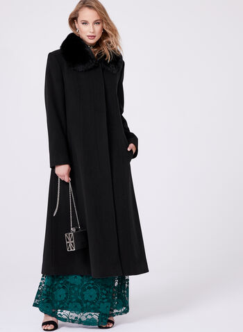 Mallia - Fur Trimmed Cashmere Blend Long Coat, , hi-res