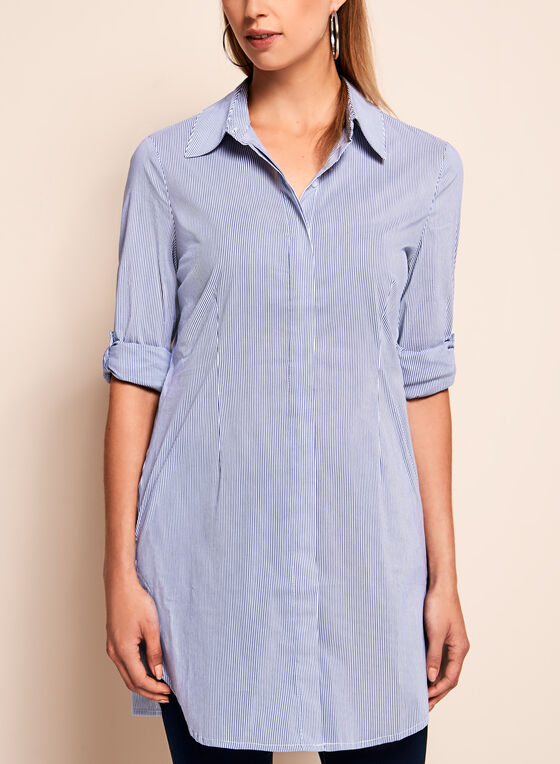 Pinstripe Print Tunic Blouse , Blue, hi-res