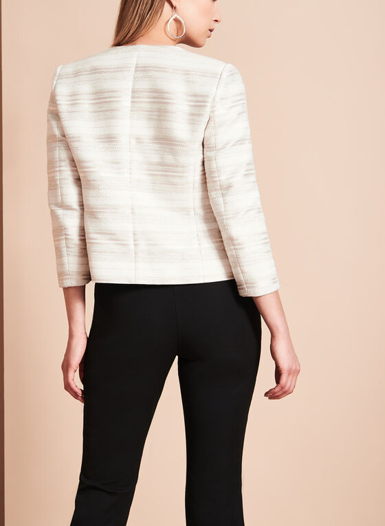 Cropped Knit Jacquard Jacket, White, hi-res