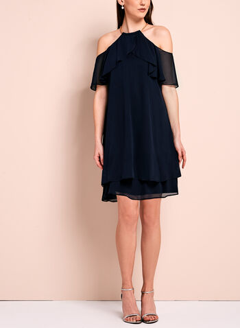 Ruffle Trim Cold Shoulder Dress, , hi-res