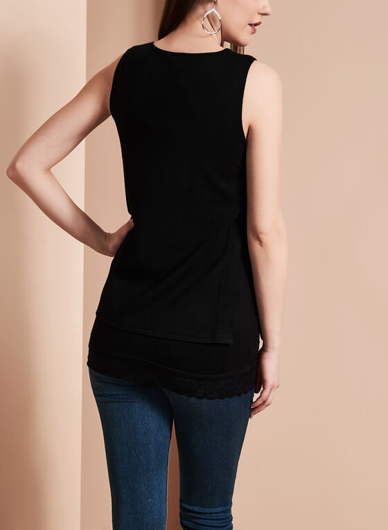 Linea Domani Knit Grommet Top, Black, hi-res