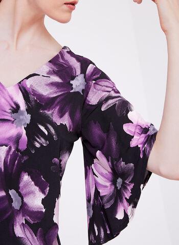 Floral Print Angel Sleeve Top, , hi-res