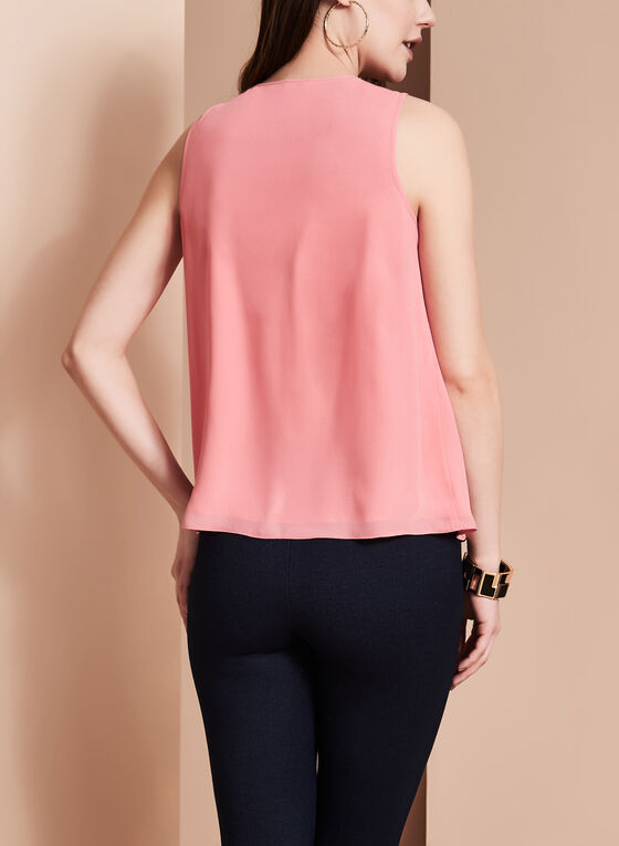 Sleeveless Ruffle Front Blouse , Pink, hi-res