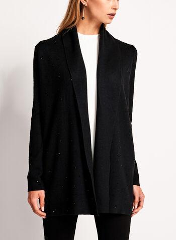 Contrast Embellished Double Knit Cardigan, , hi-res