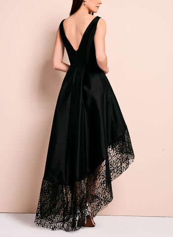 Lace Trim Evening Dress, , hi-res