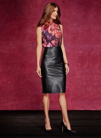 Faux Leather Pencil Skirt, , hi-res