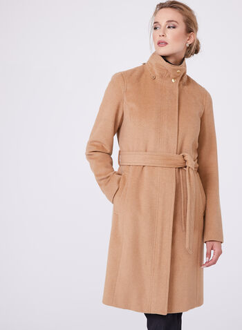 Ellen Tracy - Belted Wool Blend Coat, , hi-res