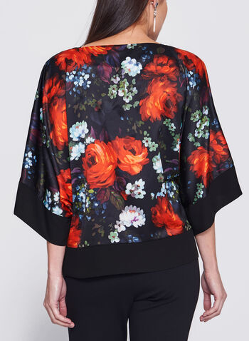 Floral Print Satin Kimono Top, , hi-res