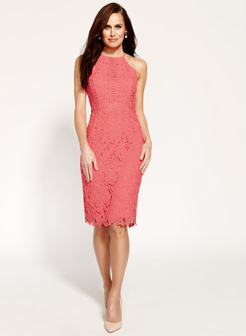 Lace Halter Neck Dress, Orange, hi-res
