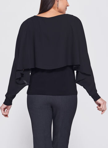 Long Sleeve Double Layer Poncho Top, , hi-res